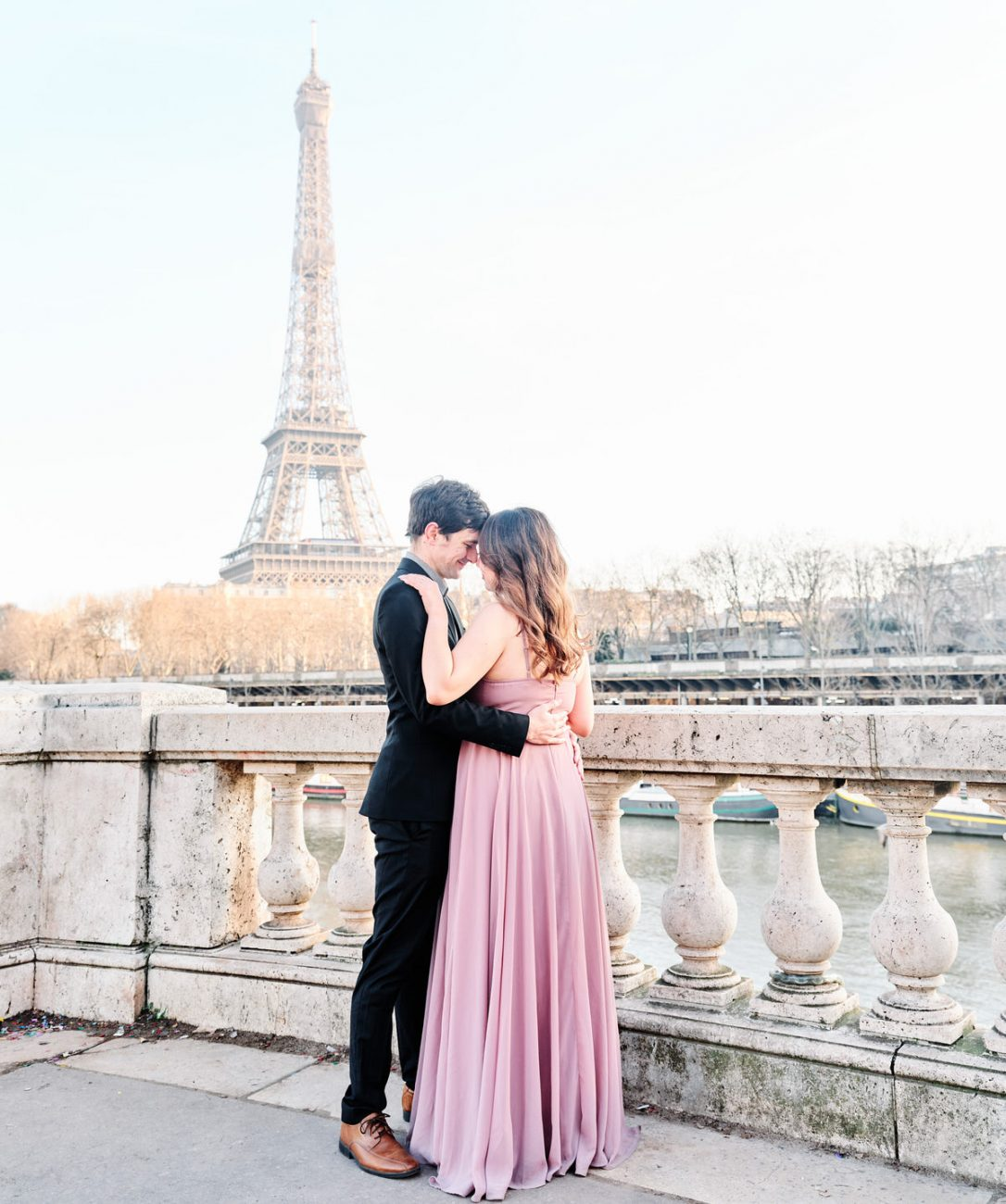 elegant engagement session at the eiffel tower in paris