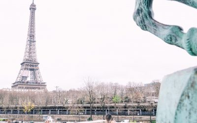 Holiday surprise proposal in Paris in the rain