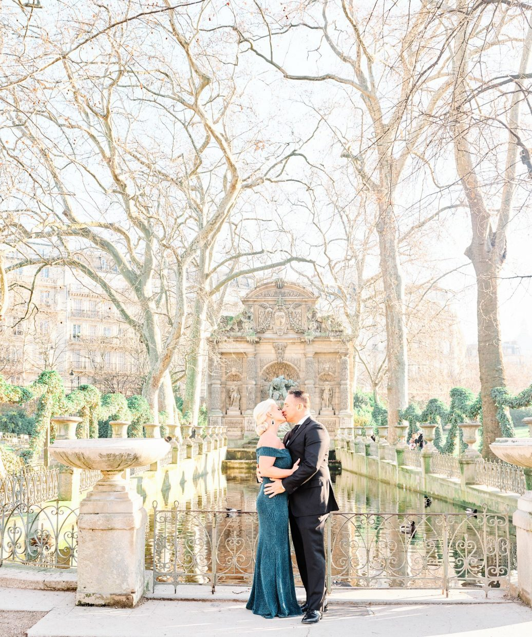 beautiful vow renewal at luxembourg gardens in paris
