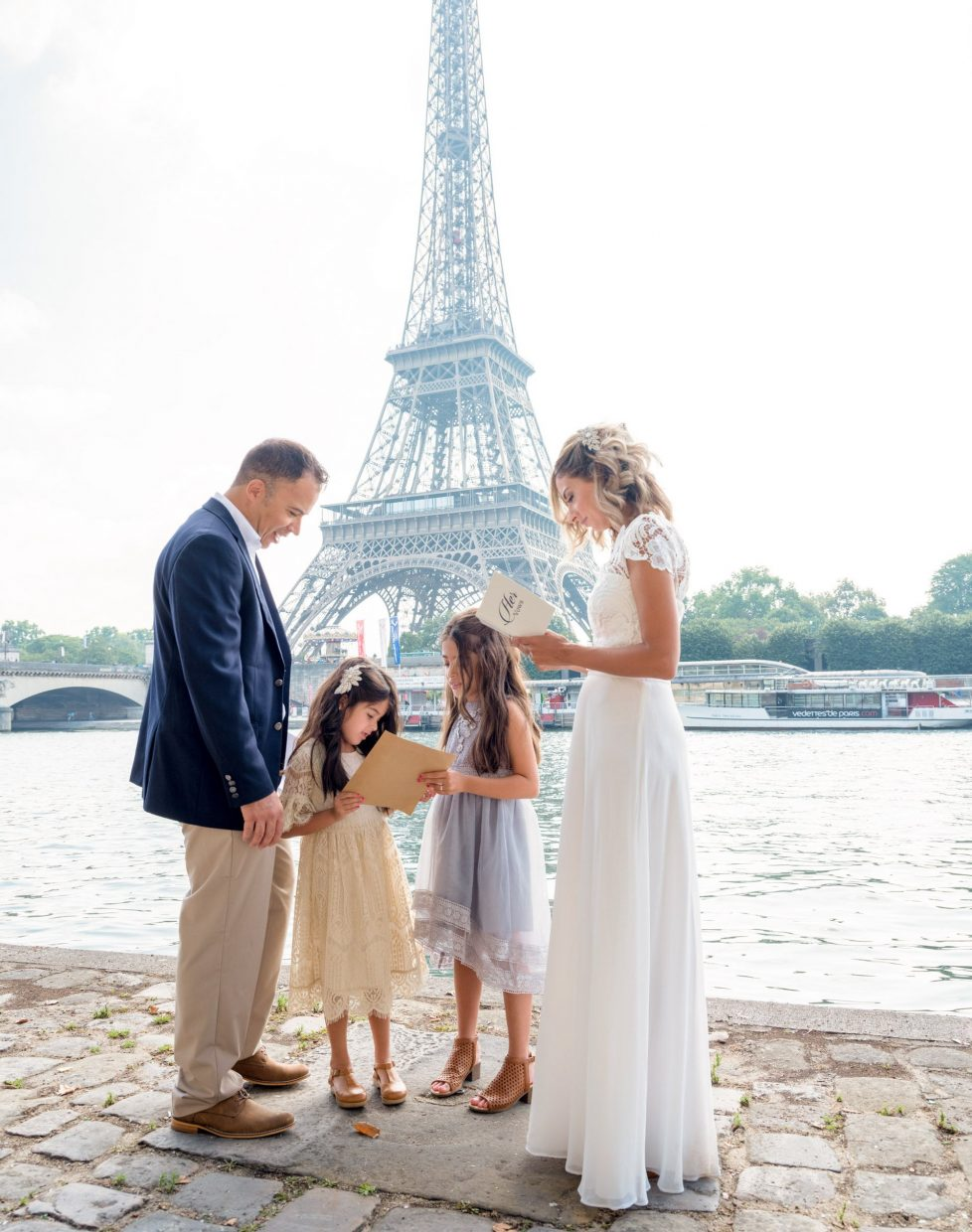 beautiful vow renewal at the eiffel tower in paris